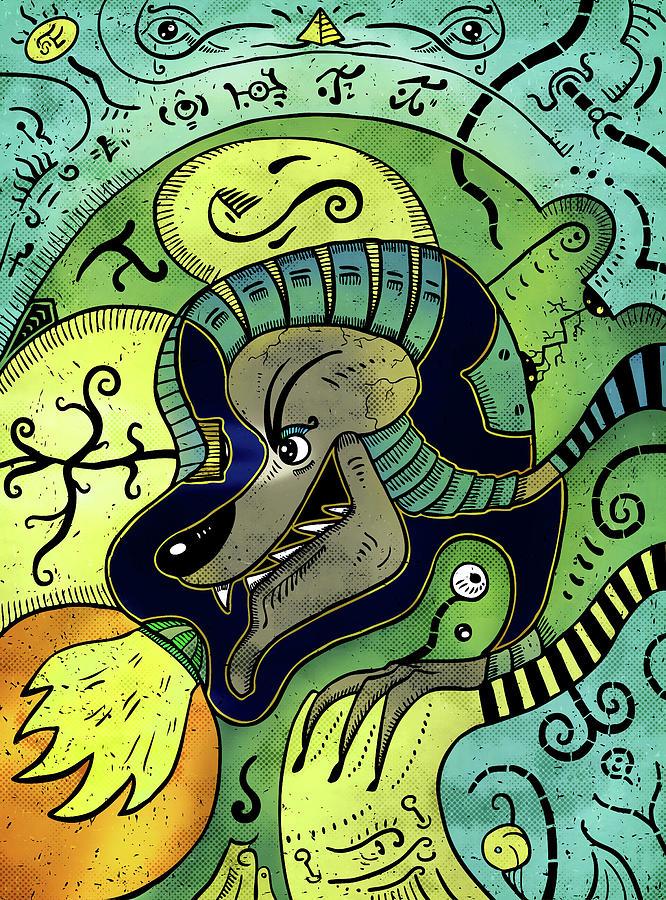 Shaman Digital Art - Anubis by Sotuland Art