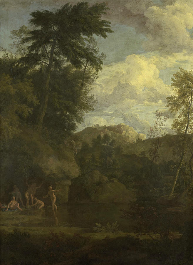 Arcadian Landscape with Diana Bathing by Johannes Glauber