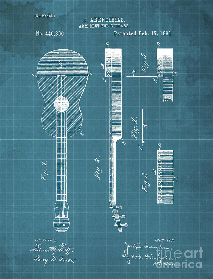 Arm Rest For Guitars Patent Year 1891 Drawing