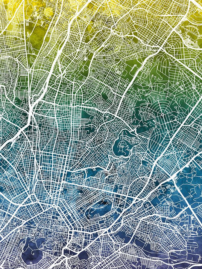 Athens Digital Art - Athens Greece City Map by Michael Tompsett
