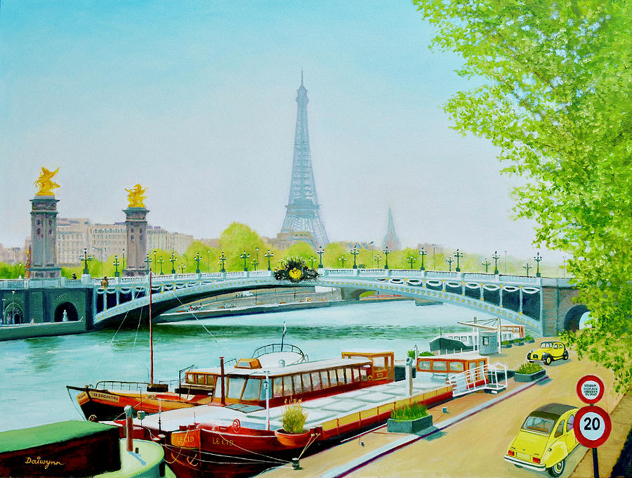 Barges On The River Seine in Paris by Dai Wynn