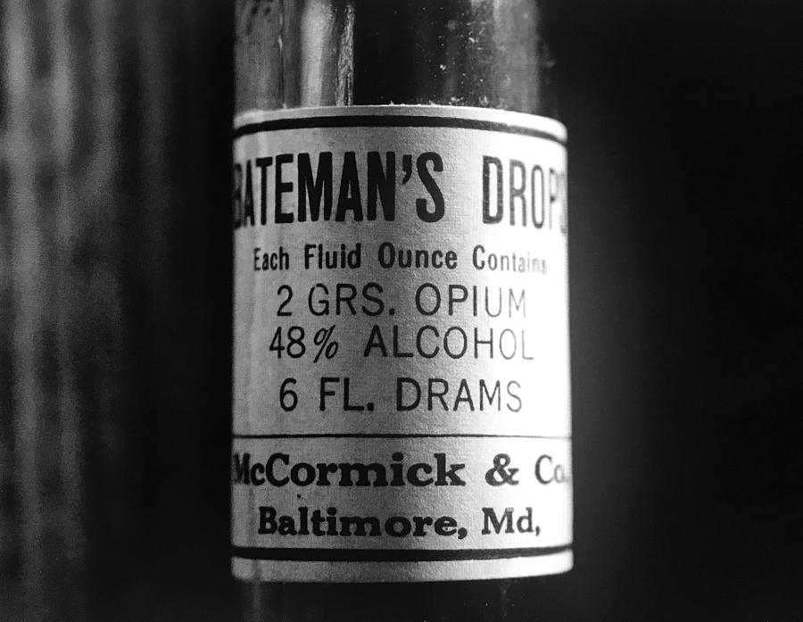 Antique McCormick and Co Baltimore MD Bateman's Drops Opium Bottle Label - Black and White by Marianna Mills