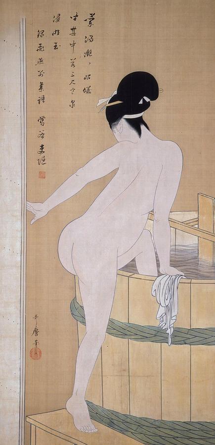 Japanese Painter Painting - Bathing In Cold Water by Kitagawa Utamaro