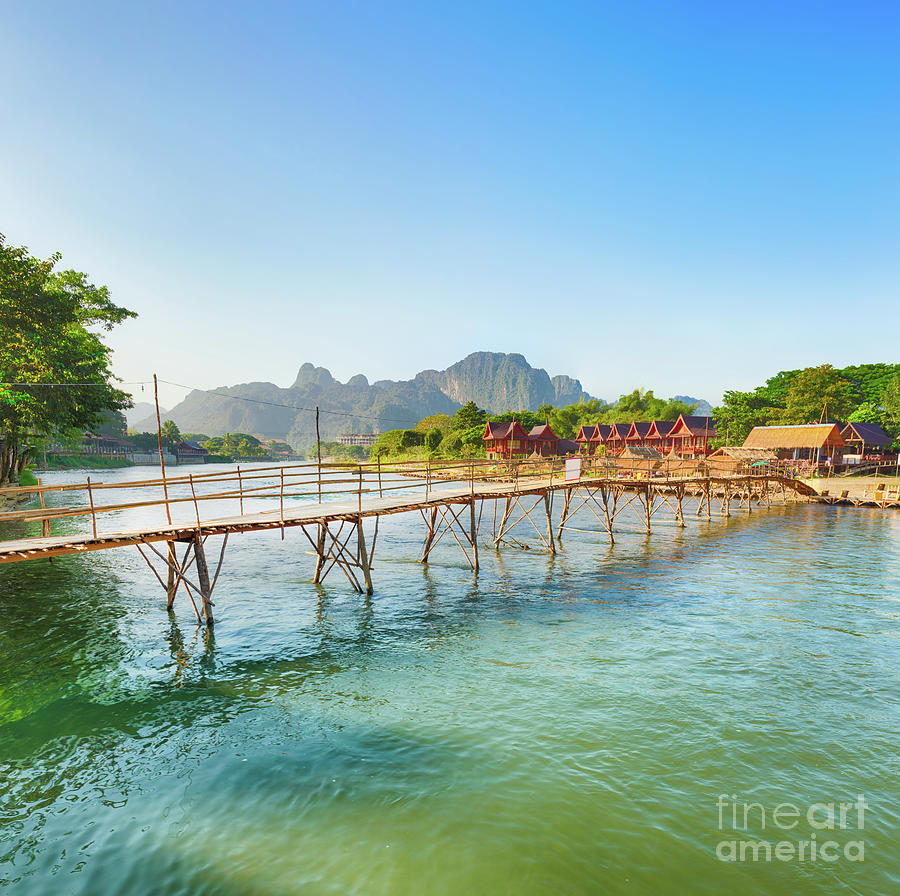 Beautiful View Of A Bamboo Bridge. Laos Landscape. Photograph