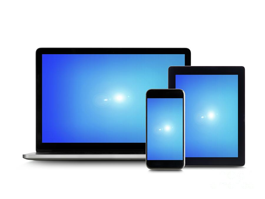 Nobody Photograph - Blue Screens On Digital Devices by Science Photo Library