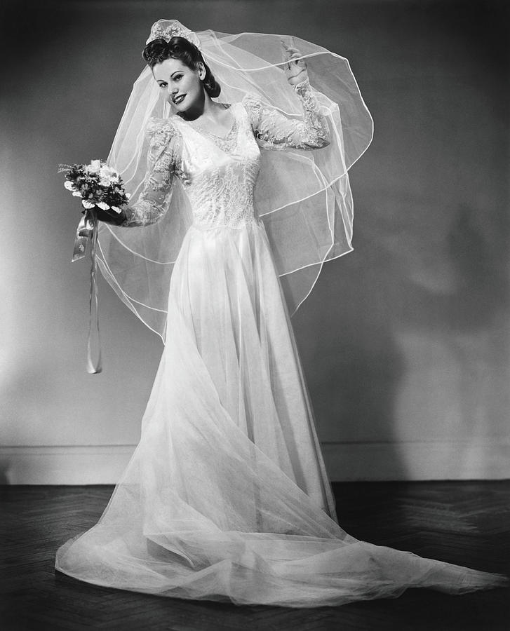 Bride Posing In Studio, B&w, Portrait Photograph by George Marks