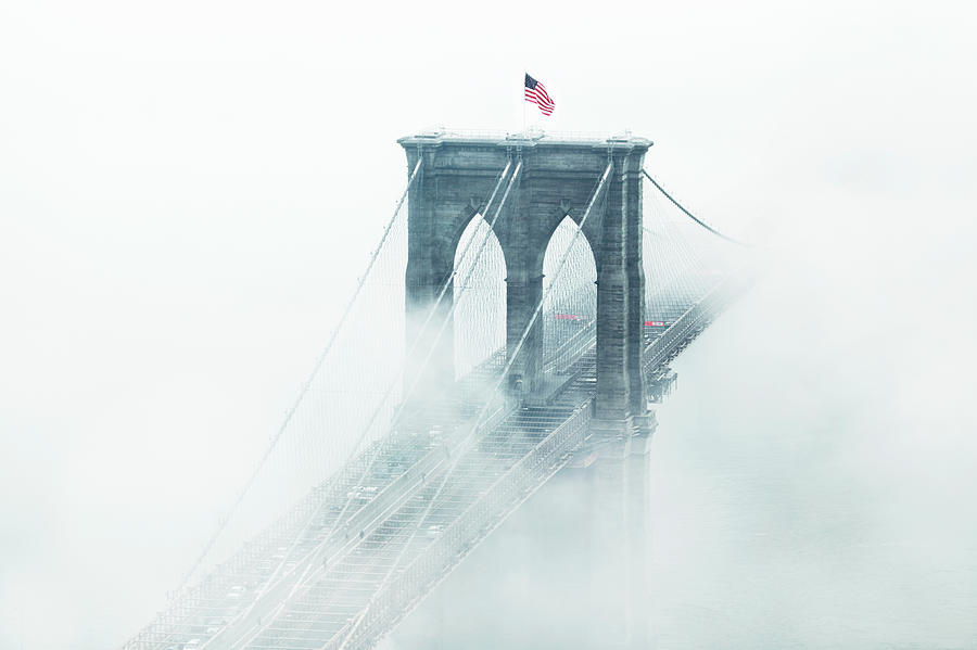 Brooklyn Bridge In Fog Photograph by Johner Images