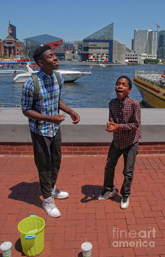 2 Bros. Busking on Baltimore's Inner Harbor 2 by Walter Neal