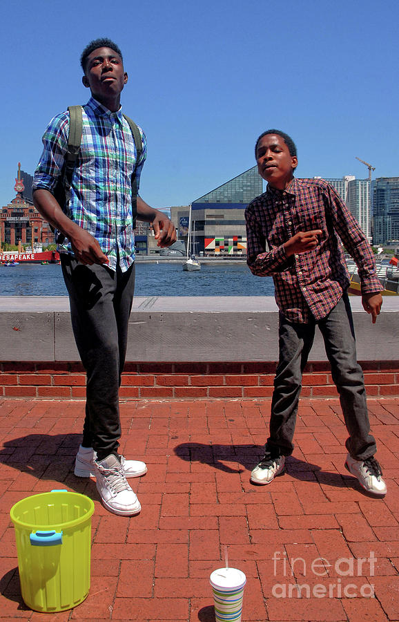 2 Bros. Busking on Baltimore's Inner Harbor 1 by Walter Neal