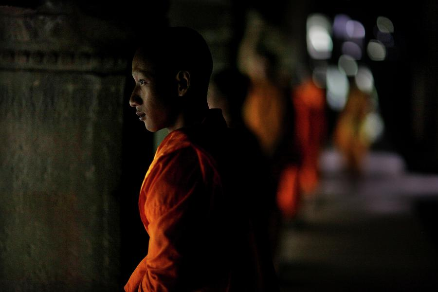 Buddhist Monks At Angkor Wat Temple Photograph by Timothy Allen