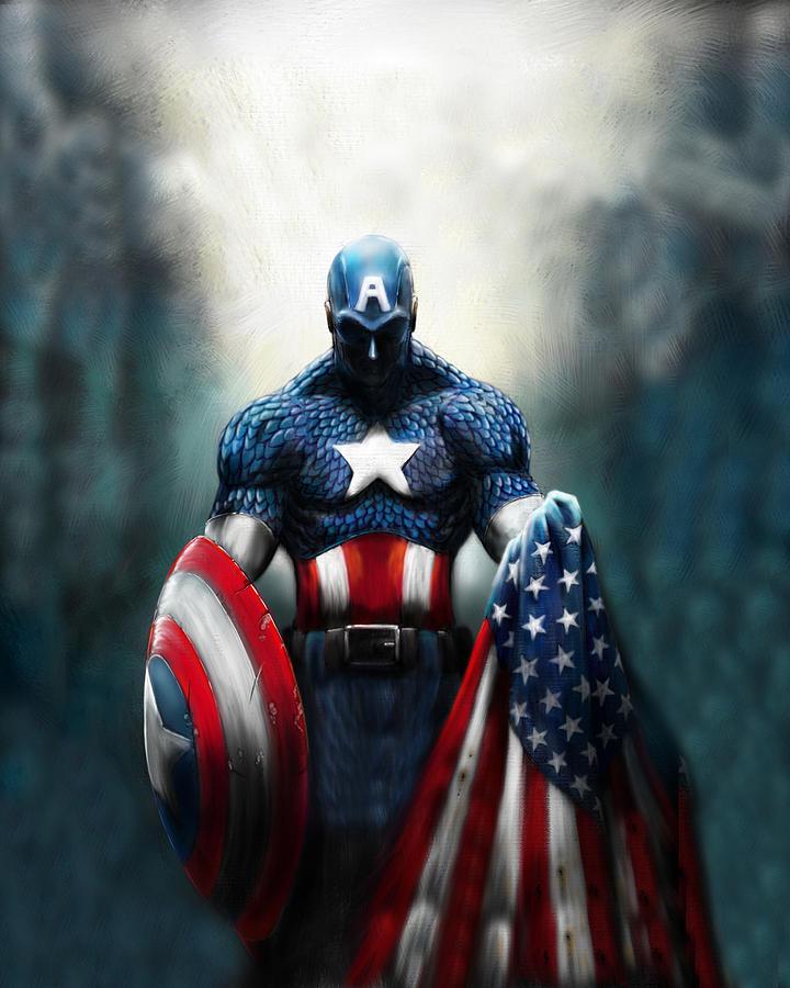 Captain America Digital Art - Captain America  by Geek N Rock