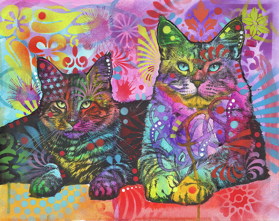 Pets Mixed Media - 2 Cats by Dean Russo
