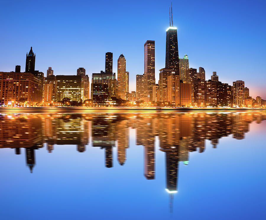 Chicago Skyline By Night Photograph by Pawel.gaul