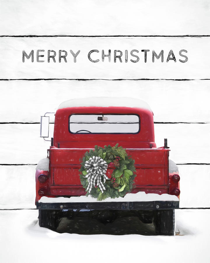 Christmas Farm Truck Mixed Media By Lori Deiter