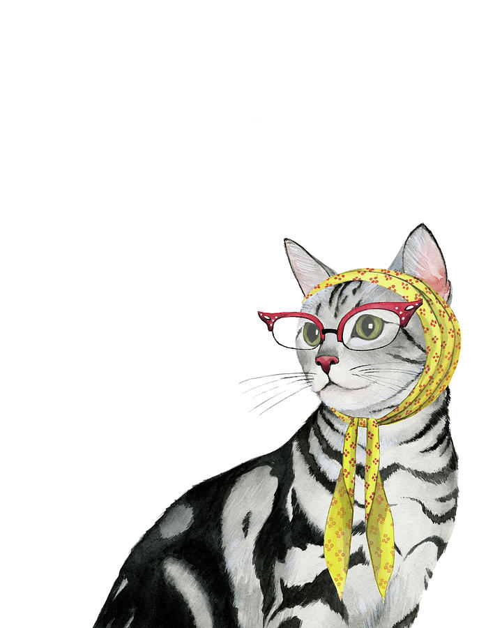 Pets Painting - Cool Cat IIi by Grace Popp