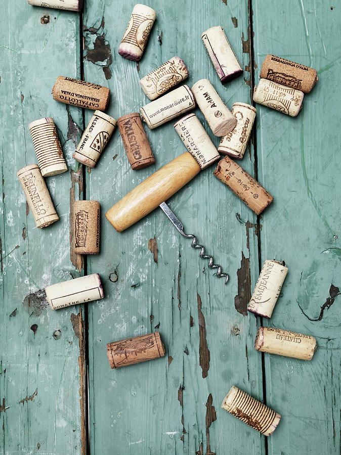 Corks With Corkscrew Photograph by Henrik Sorensen