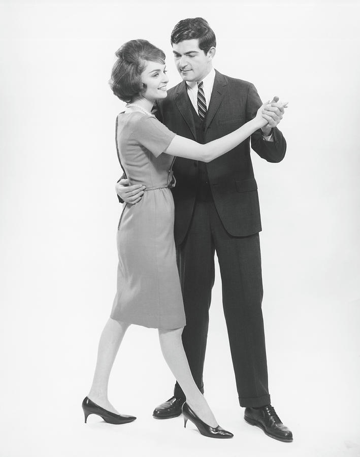 Couple Dancing In Studio, B&w Photograph by George Marks