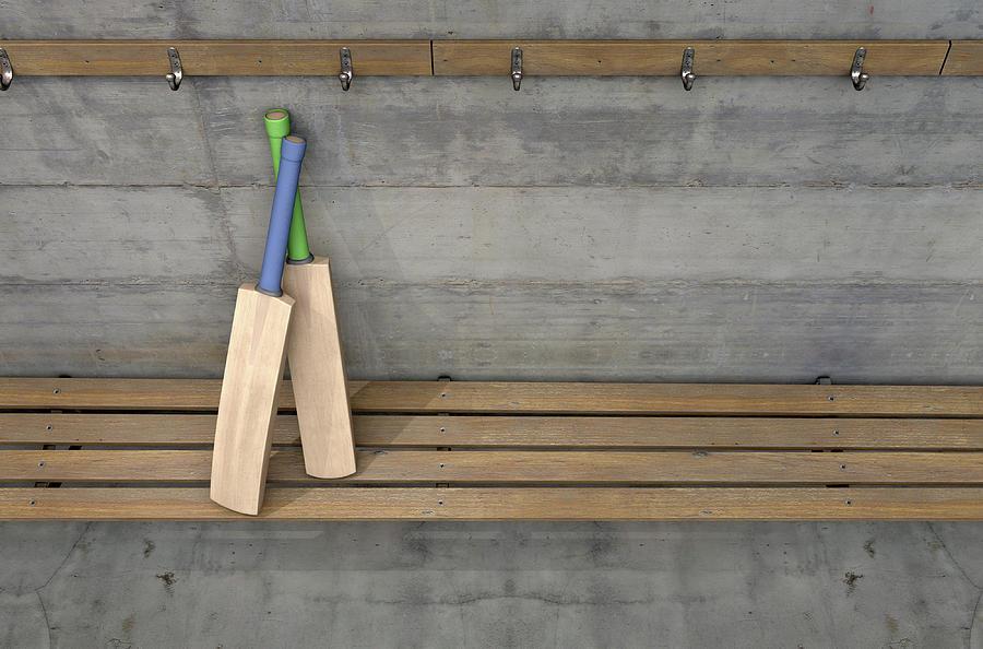 Cricket Digital Art - Cricket Bat In Change Room by Allan Swart