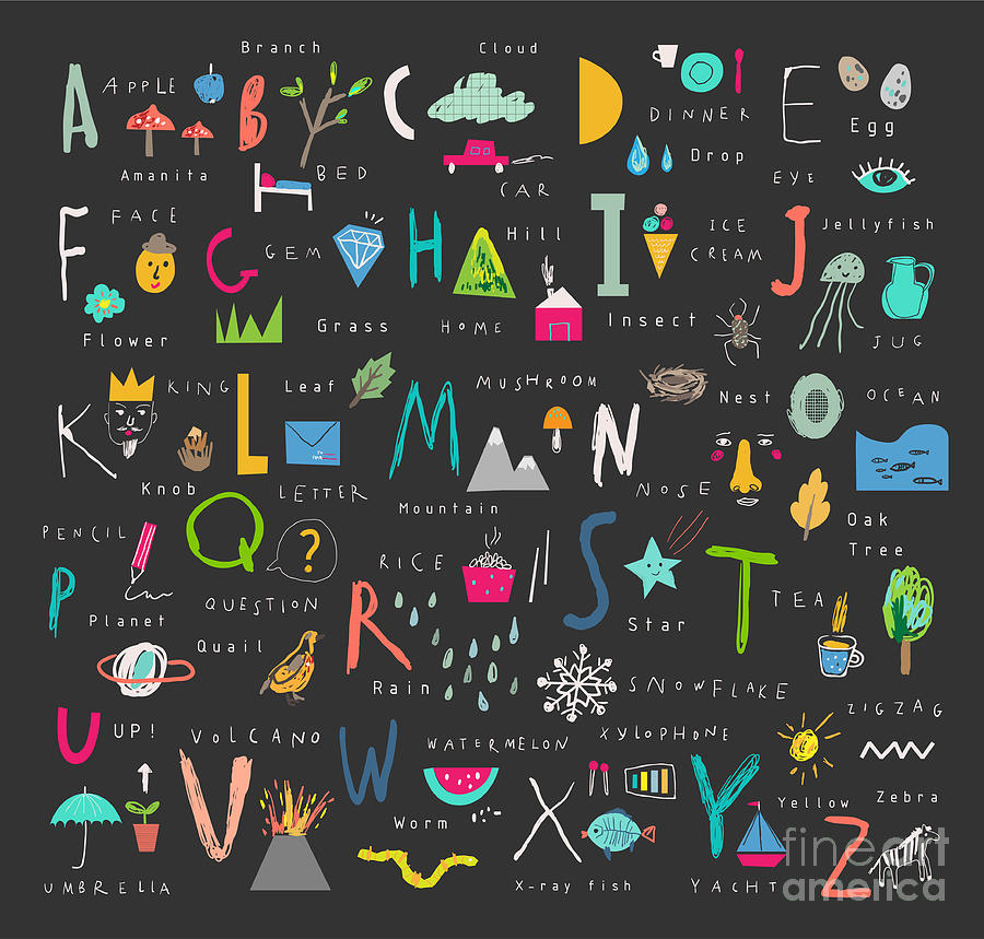 Typography Digital Art - Cute Alphabet Letters And Words Learn by Lera Efremova