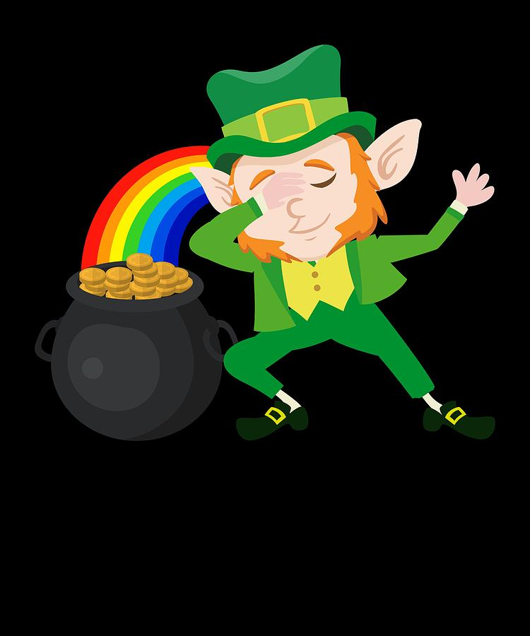 25821ea12 Clover Digital Art - Dabbing Leprechaun Funny St Patricks Day Irish Flag  Apparel by Michael S