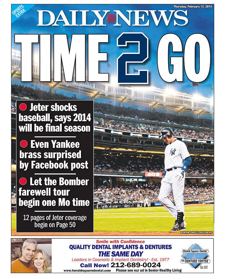 Daily News Back Page Derek Jeter Photograph by New York Daily News
