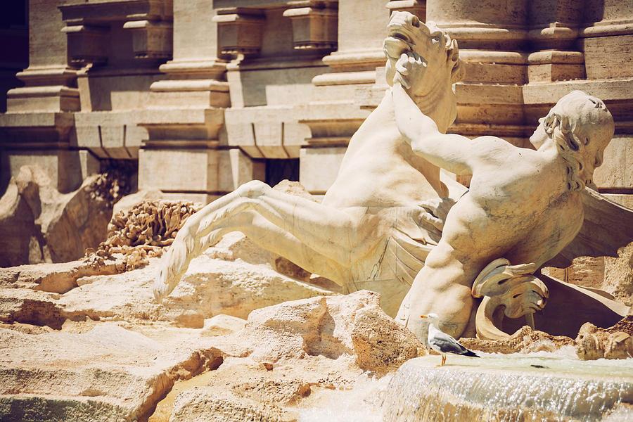 Detail of Fontana di Trevi, Rome, Italy by Eduardo Huelin