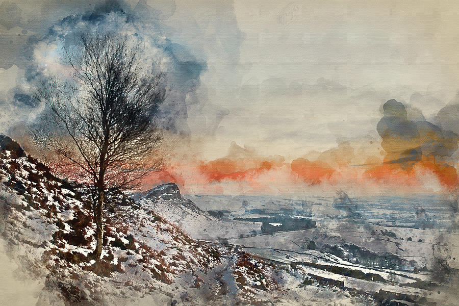 Landscape Photograph - Digital Watercolor Painting Of Beautiful Winter Landscape At Vib by Matthew Gibson