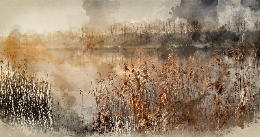 Landscape Photograph - Digital Watercolor Painting Of Landscape Of Lake In Mist With Su by Matthew Gibson
