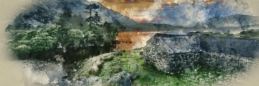 Panorama Photograph - Digital Watercolor Painting Of Panorama Landscape Stunning Sunri by Matthew Gibson