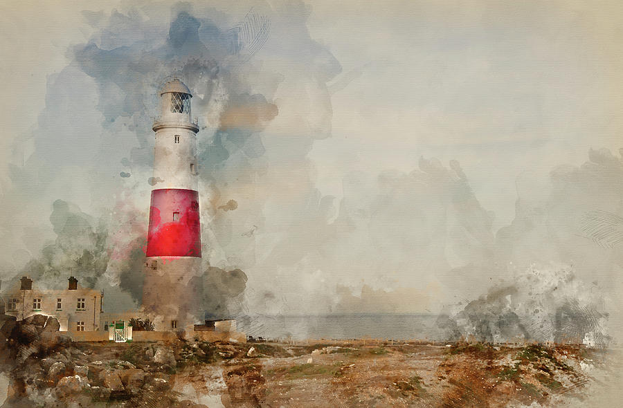 Digital Watercolour Painting Of Victorian Lighthouse On Promonto