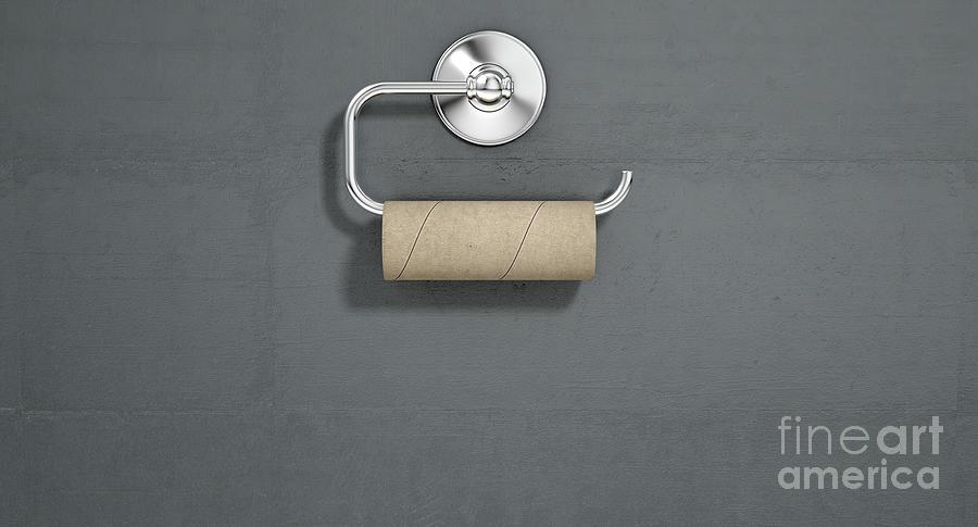 Toilet Digital Art - Empty Toilet Roll On Chrome Hanger 2 by Allan Swart