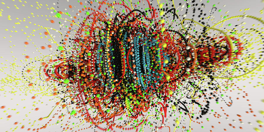 Abstract Photograph - Exploding Strings Of Multi Colored Beads by Ikon Images