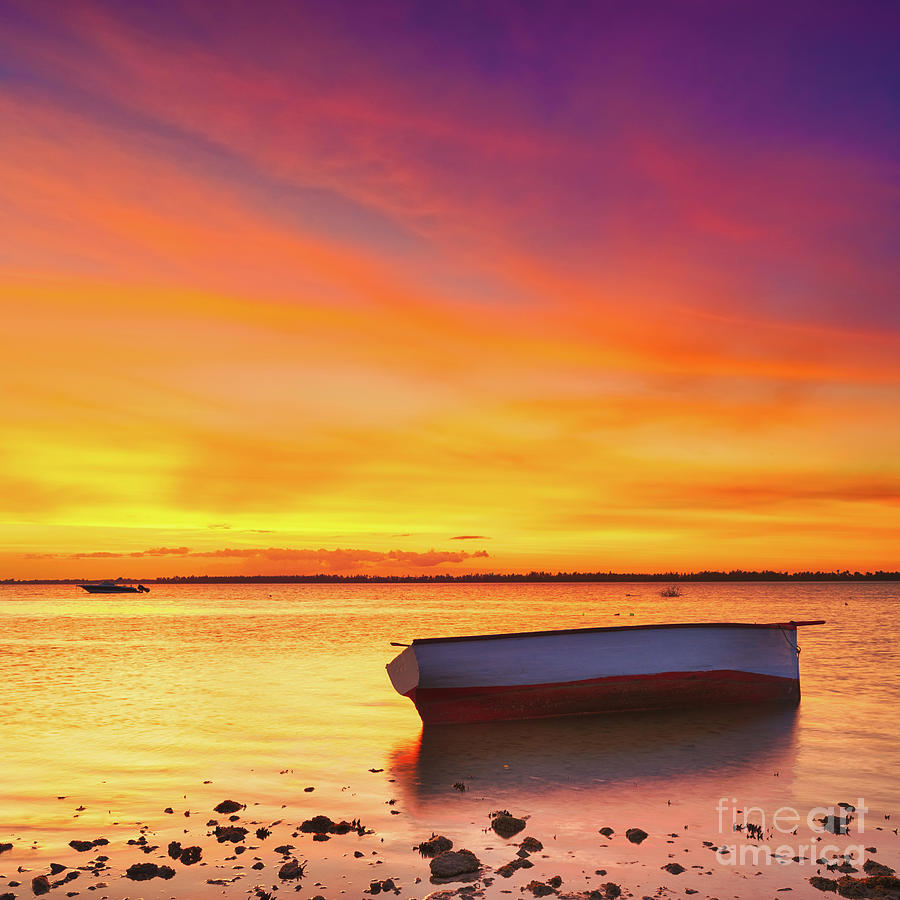 Mauritius Photograph - Fishing Boat At Sunset Time by MotHaiBaPhoto Prints