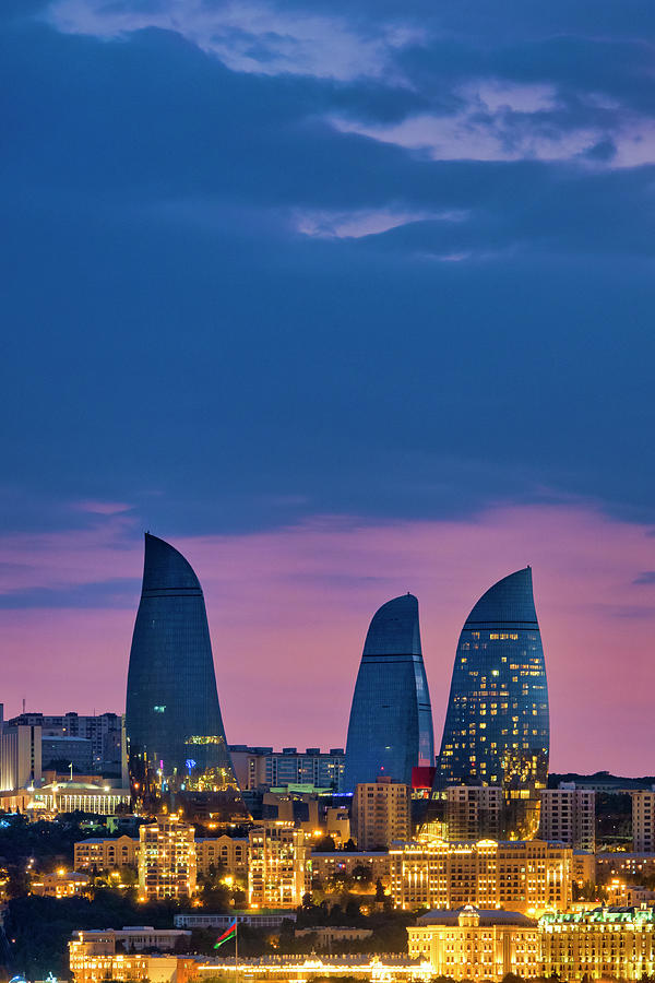 Flame towers at sunset by Fabrizio Troiani