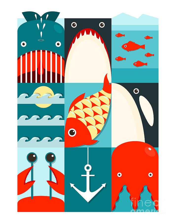 Octopus Digital Art - Flat Sea And Fish Rectangular Nautical by Popmarleo