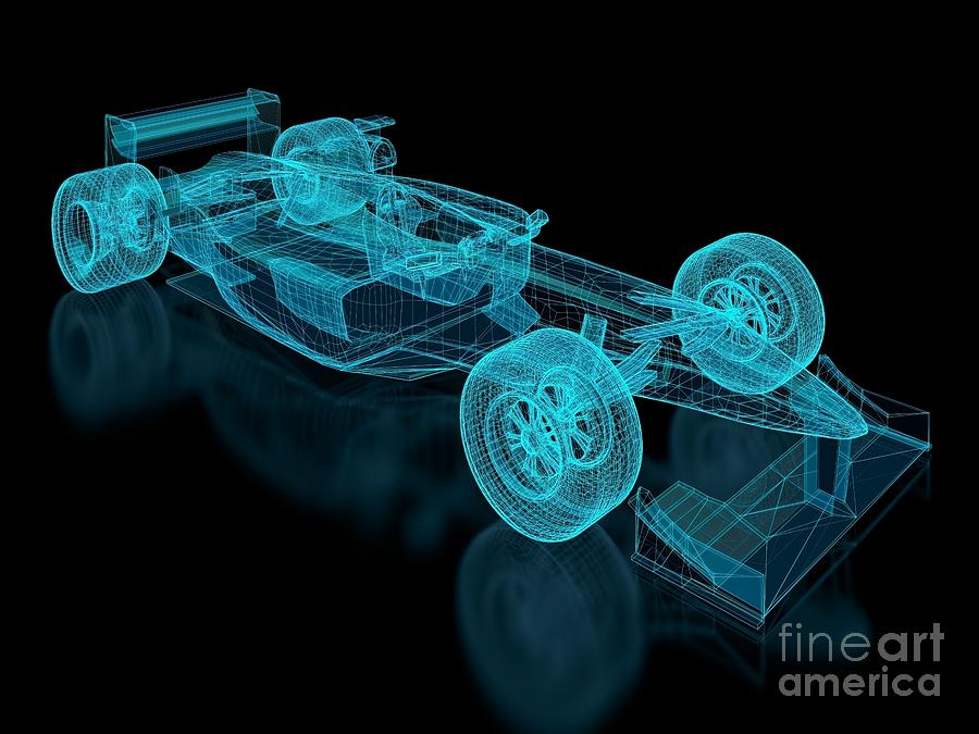 Aerodynamics Digital Art - Formula One Mesh. Part Of A Series 2 by Nuno Andre
