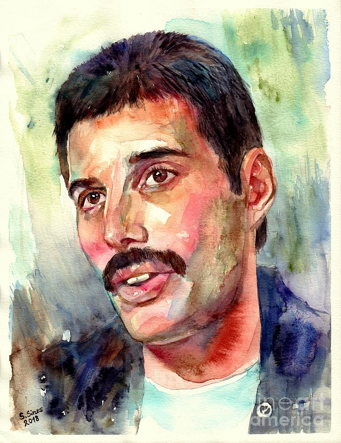 Freddie Painting - Freddie Mercury watercolor by Suzann Sines