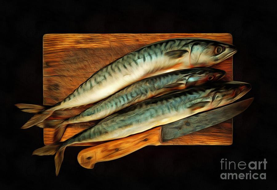 Bonito Mixed Media - Fresh Mackerels by Michal Boubin