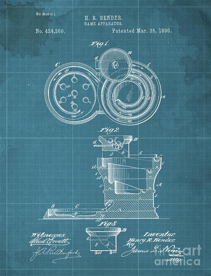 Game Apparatus Patent Year 1890 Drawing
