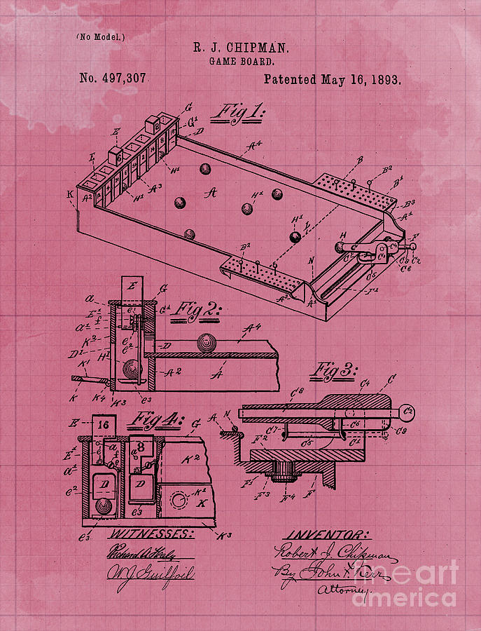 Game Board Old Patent Year 1893 Old Artwork Office Decoration Drawing