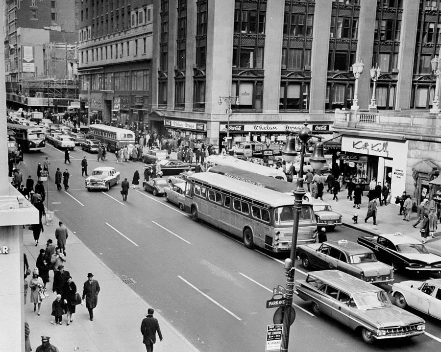 General View Of Pedestrians Crossing Photograph by New York Daily News Archive