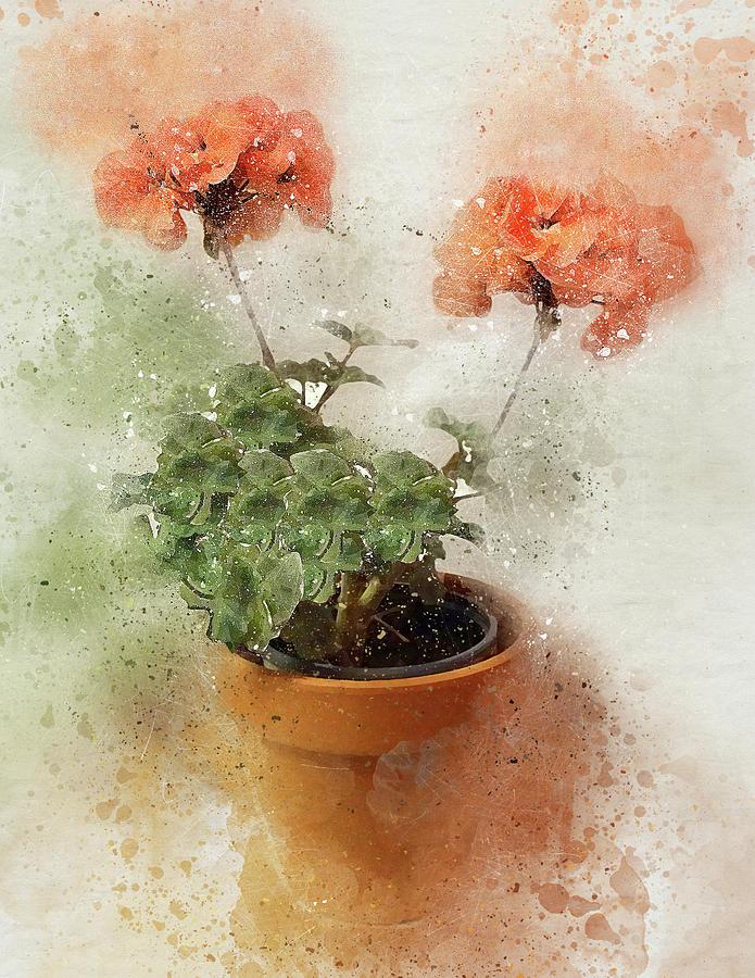 2 Geraniums Original-E by Peggy Cooper