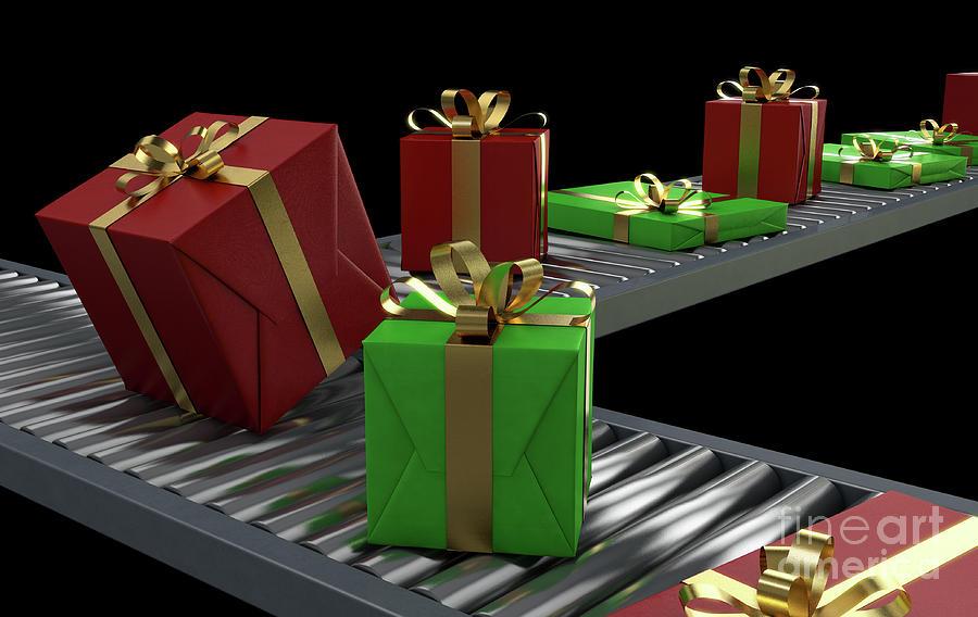 Gift Digital Art - Gift Boxes On Conveyor by Allan Swart