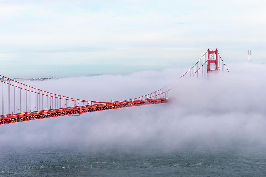 Golden Gate Bridge With Low Fog, San Photograph by Spondylolithesis