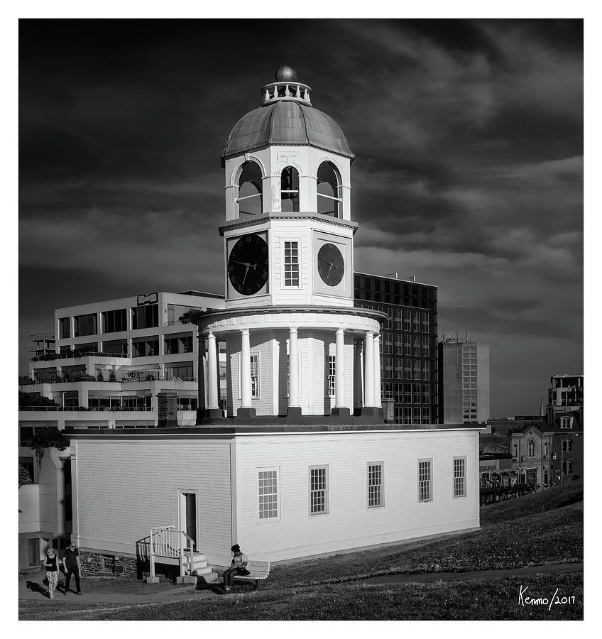 Architecture Digital Art - Halifax Town Clock 2017 Black  And White by Ken Morris