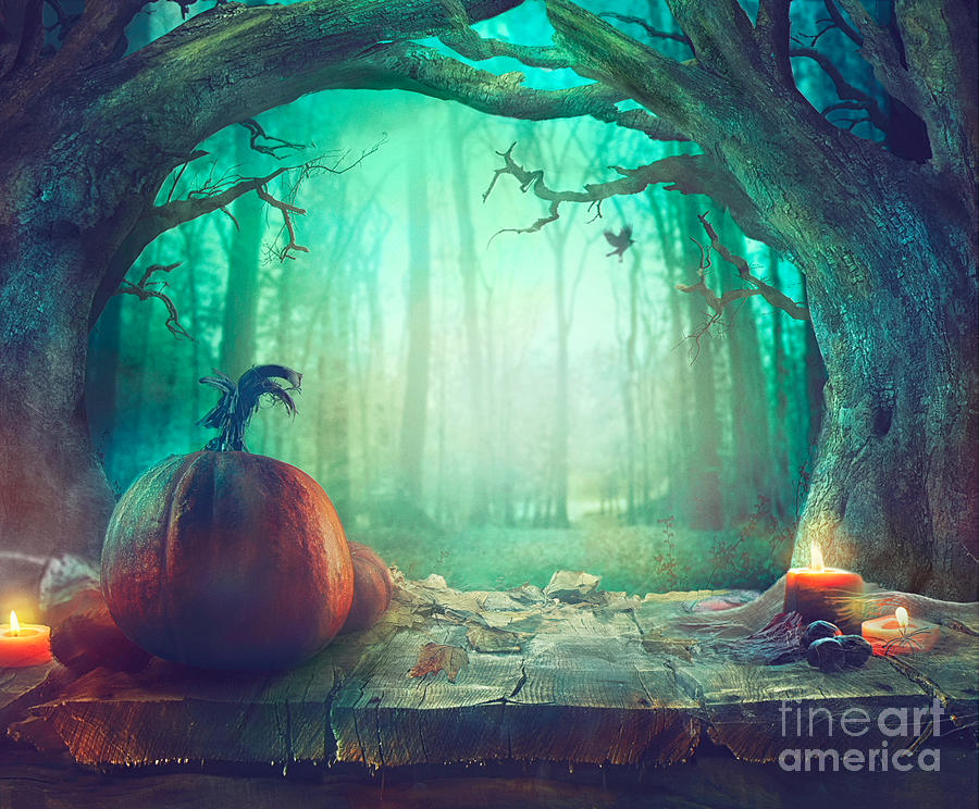 Halloween Spooky.Halloween Theme With Pumpkins And Dark Forest Spooky Halloween
