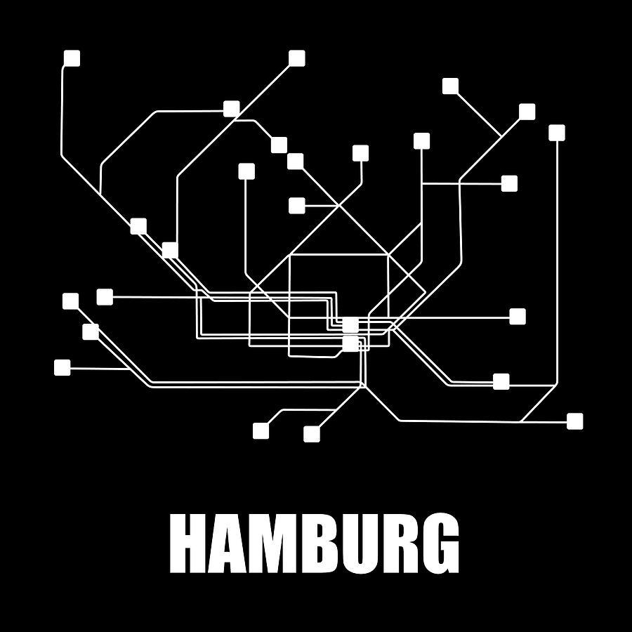 Hamburg Digital Art - Hamburg Black Subway Map by Naxart Studio