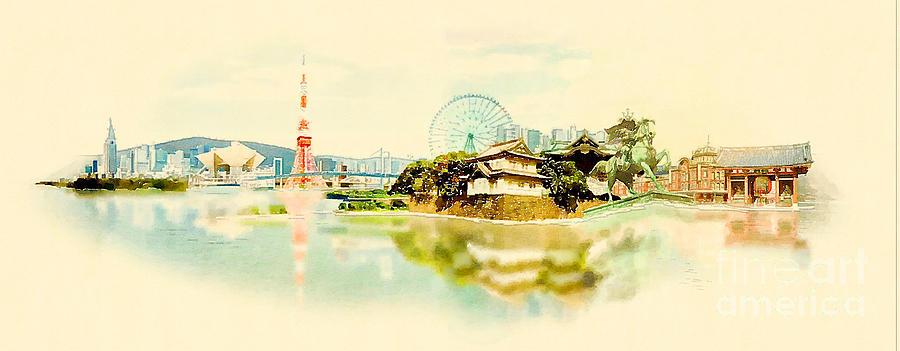 Japan Digital Art - High Resolution Panoramic Water Color by Trentemoller