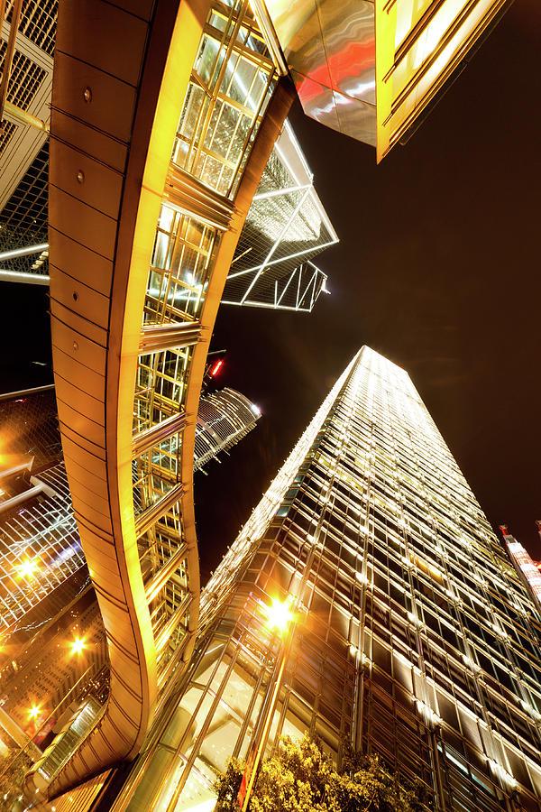 Hong Kong At Night Photograph by Laoshi