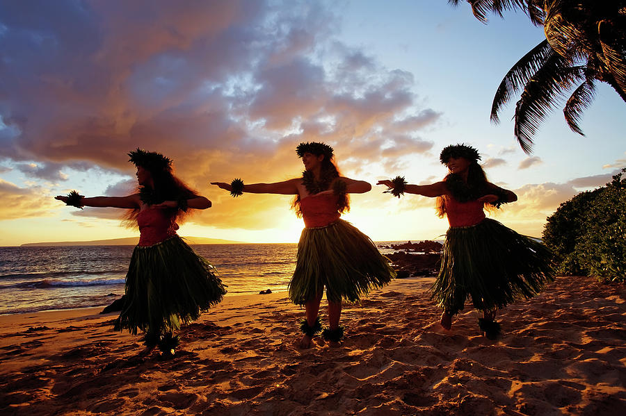 Hula Dancers At Sunset Photograph by David Olsen
